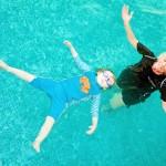 Sue & Abigail with Turtle A Children at Whites Farm pool