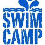 swim camp stamp blue